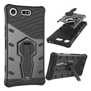 For Sony Xperia XZ1 Compact PC + TPU Dropproof Sniper Hybrid Protective Back Cover Case with 360 Degree Rotation Holder(Black)