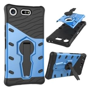 For Sony Xperia XZ1 Compact PC + TPU Dropproof Sniper Hybrid Protective Back Cover Case with 360 Degree Rotation Holder(Blue)