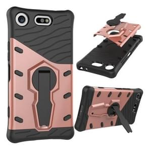 For Sony Xperia XZ1 Compact PC + TPU Dropproof Sniper Hybrid Protective Back Cover Case with 360 Degree Rotation Holder(Rose Gold)