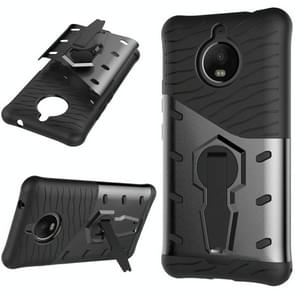 For Motorola Moto E4 Plus (EU Version) PC + TPU Dropproof Sniper Hybrid Protective Back Cover Case with 360 Degree Rotation Holder (Black)