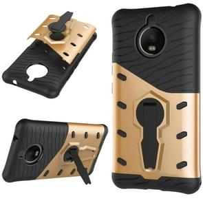 For Motorola Moto E4 Plus (EU Version) PC + TPU Dropproof Sniper Hybrid Protective Back Cover Case with 360 Degree Rotation Holder (Gold)