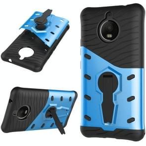 For Motorola Moto E4 Plus (EU Version) PC + TPU Dropproof Sniper Hybrid Protective Back Cover Case with 360 Degree Rotation Holder (Blue)