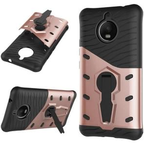 For Motorola Moto E4 Plus (EU Version) PC + TPU Dropproof Sniper Hybrid Protective Back Cover Case with 360 Degree Rotation Holder (Rose Gold)
