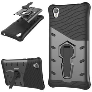 For Sony Xperia L1 PC + TPU Dropproof Sniper Hybrid Protective Back Cover Case with 360 Degree Rotation Holder(Black)