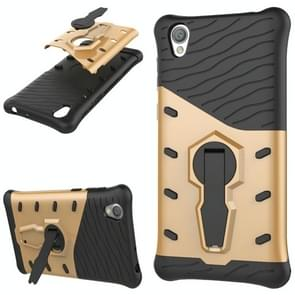 For Sony Xperia L1 PC + TPU Dropproof Sniper Hybrid Protective Back Cover Case with 360 Degree Rotation Holder(Gold)