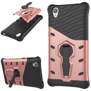For Sony Xperia L1 PC + TPU Dropproof Sniper Hybrid Protective Back Cover Case with 360 Degree Rotation Holder(Rose Gold)