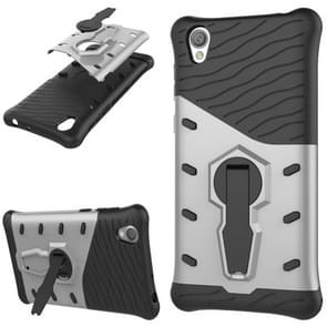 For Sony Xperia L1 PC + TPU Dropproof Sniper Hybrid Protective Back Cover Case with 360 Degree Rotation Holder(Silver)
