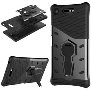 For Sony Xperia XZ1 PC + TPU Dropproof Sniper Hybrid Protective Back Cover Case with 360 Degree Rotation Holder (Black)