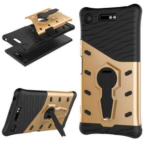 For Sony Xperia XZ1 PC + TPU Dropproof Sniper Hybrid Protective Back Cover Case with 360 Degree Rotation Holder (Gold)