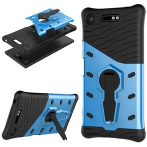 For Sony Xperia XZ1 PC + TPU Dropproof Sniper Hybrid Protective Back Cover Case with 360 Degree Rotation Holder (Blue)