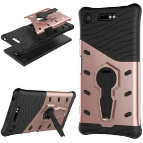 For Sony Xperia XZ1 PC + TPU Dropproof Sniper Hybrid Protective Back Cover Case with 360 Degree Rotation Holder (Rose Gold)