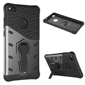 Huawei P8 Lite (2017) Shock-Resistant 360 Degree Spin Tough Armor TPU+PC Combination Case with Holder(Black)