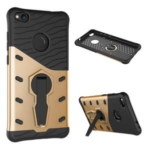 Huawei P8 Lite (2017) Shock-Resistant 360 Degree Spin Tough Armor TPU+PC Combination Case with Holder(Gold)