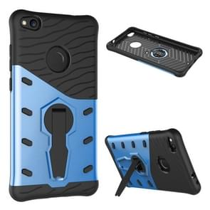 Huawei P8 Lite (2017) Shock-Resistant 360 Degree Spin Tough Armor TPU+PC Combination Case with Holder(Blue)