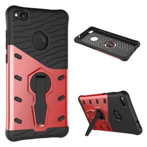 Huawei P8 Lite (2017) Shock-Resistant 360 Degree Spin Tough Armor TPU+PC Combination Case with Holder(Red)