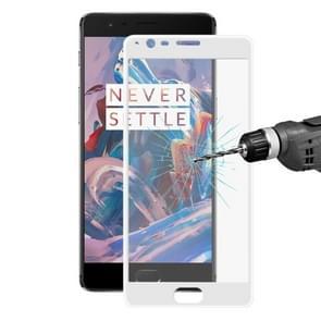 ENKAY Hat-Prince OnePlus 3 & 3T 0.2mm 9H Hardness 3D Explosion-proof Full Screen Carbon Fiber Soft Edges Tempered Glass Screen Film(White)