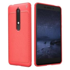 Lenuo Leshen Series voor Nokia 6 (2018) TPU Litchi structuur Dropproof beschermings Back Cover hoesje(rood)
