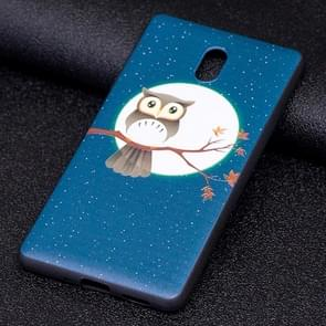 Voor Nokia 3 Uil Under the Moon patroon Stereo Relief Soft TPU beschermings Back hoesje