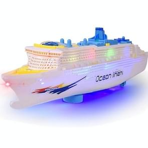 Children Toy Simulation Electric Boat Model Music Light Cruise Wheel with Colorful Lights and Siren