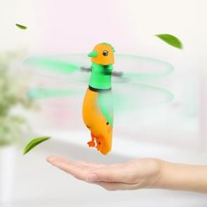 CX-51 USB Charging Induction Flying Parrot Singing Bird Flying Toy with LED Flashing Light, Age Range: 8 Years Old Above, Without Remote Control(Orange)