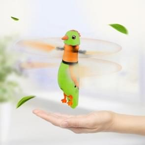 CX-51 USB Charging Induction Flying Parrot Singing Bird Flying Toy with LED Flashing Light, Age Range: 8 Years Old Above, Without Remote Control(Green)