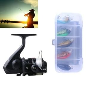 HENGJIA SetJL200 Box014 Fishing Spinning Wheel Set with Rocker Arm 3BB Ball Bearings Wheel Seat Fishing Reel with 40m Fishing Lines & 5 PCS Rock Baits (Black)