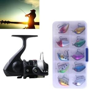 HENGJIA SetJL200 Box0149 Fishing Spinning Wheel Set Wheel 3BB Ball Bearings Wheel Seat Fishing Reel with 40m Fishing Lines & 10 PCS fishing Baits(Black)
