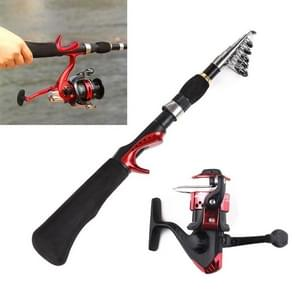 1.6m Curved Shank 7 Sections Portable Telescopic Fishing Pole with Fishing Reel, Min Length: 38.5cm