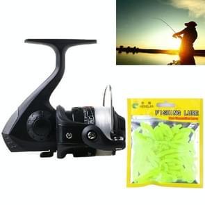 HENGJIA JL200SO033-1 Freshwater Fishing Wheel Set 3BB Ball Bearings Wheel Seat Fishing  Reel with 40m Fishing Lines & 50 PCS Soft Baits(Black)