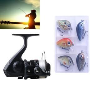 HENGJIA SetJL200 Fishing Spinning Wheel Set with Rocker Arm 3BB Ball Bearings Wheel Seat Fishing Reel with 40m Fishing Lines & 5 PCS Rock Baits (Black)