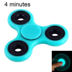 Fidget Spinner Toy Stress Reducer Anti-Anxiety Toy for Children and Adults, 4 Minutes Rotation Time, Fluorescent Light, Hybrid Ceramic Bearing + POM Material(Baby Blue)