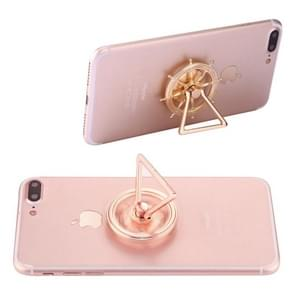 Rudder Wheel Shape Phone Triangle Holder Fidget Spinner Toy Stress Reducer Anti-Anxiety Toy, About 0.2 Minutes Rotation Time(Gold)