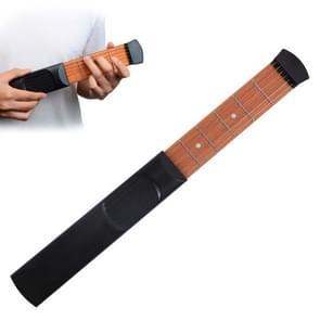 Mini Pocket Guitar Portable Guitar Trainer Finger Chord Conversion Trainer KD10(Black 6 characters)