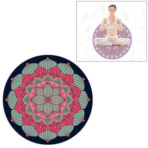 Red Ethnic Style Pattern Round Yoga Meditation Mat Anti-skid Rubber Pad, Diameter: 70cm