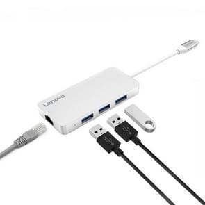 Lenovo C506 4 in 1 RJ45 Port & 3 x USB3.0 Ports to USB-C / Type-C HUB Adapter(Silver)