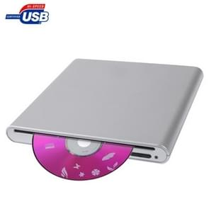 USB 2.0 Slim Aluminum Alloy Portable Slot-in External DVD-RW Drive, Plug and Play
