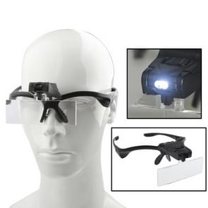 Multi-functional 1.0X / 1.5X / 2.0X / 2.5X / 3.5X Magnifier Glasses with 2-LED Lights(Black)