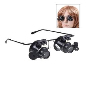 20X Glasses Type Watch Repair Loupe Magnifier with LED Light(Black)