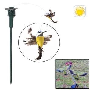 Lifelike Decorative Garden Courtyard Solar Flying Bird Toy(Yellow)