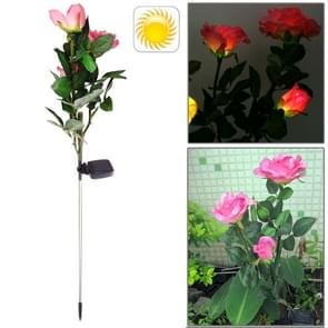 Stylish Rose Shaped Solar Powered Rechargeable Plastic Garden Lawn Light Lamp
