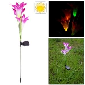 Stylish Lily Shaped Solar Powered Rechargeable Plastic Garden Lawn Light Lamp