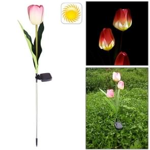 Stylish Tulip Shaped Solar Powered Rechargeable Plastic Garden Lawn Light Lamp