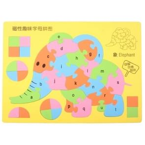 Elephant Style Magnetic Letter Puzzle Intellectual Jigsaw Puzzle Educational Toys, Size: 29 x 22cm(Yellow)