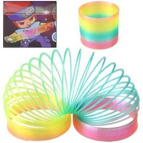 2 PCS Classic Toy Kaleidoscope Rainbow Ring Folding Plastic Spring Coil Toy for Children