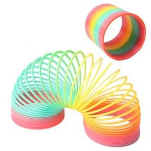 Classic Toy Kaleidoscope Rainbow Ring Folding Plastic Spring Coil Toy for Children (Random Delivery)