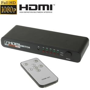 Full HD 1080P 5 Ports HDMI Switch with Remote Control & LED Indicator(Black)
