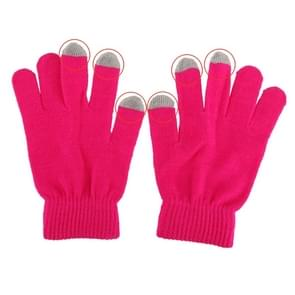 Three Fingers Touch Screen Gloves, Voor iPhone, Galaxy, Huawei, Xiaomi, HTC, Sony, LG en other Touch Screen Devices(hard roze)