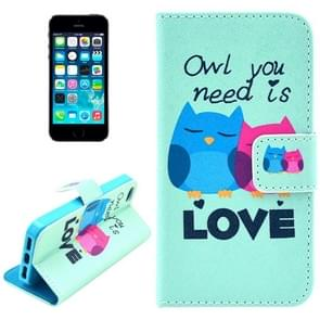 Owl Pattern Leather Case with Credit Card Slots & Holder for iPhone 5 & 5s & SE & SE