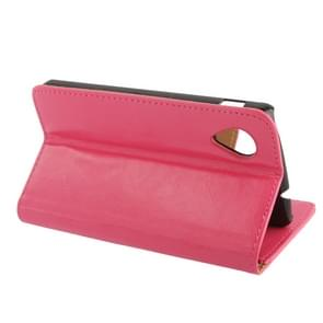 Crazy Horse Texture Leather Case with Credit Card Slot & Holder for  Google Nexus 5 (Magenta)