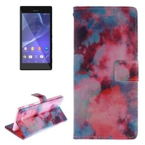 Watercolor Smudge Pattern Leather Case with Holder & Card Slot & Wallet for Sony Xperia T3 / M50W
